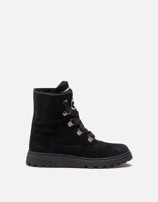 Dolce & Gabbana Split Leather And Shearling Combat Boots With Logo Patch