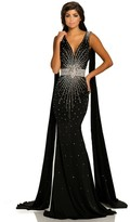 Johnathan Kayne 8010 Crystal Embellished Caped Evening Gown