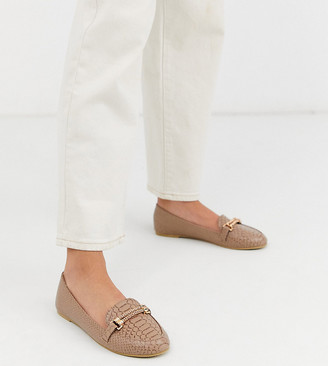 Park Lane wide fit flat loafers in snake