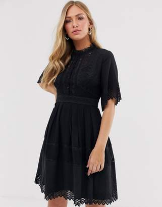 French Connection lace short sleeve dress-Black