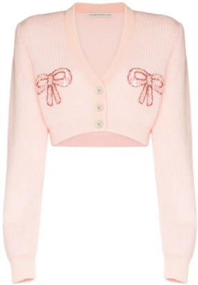 Alessandra Rich Bow Applique Cropped Cardigan