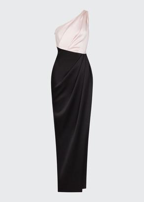 Rasario One-Shoulder Bicolor Gathered Column Gown