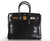 Hermes excellent (EX Black Porosus Crocodile 35cm Birkin Bag with Gold Hardware