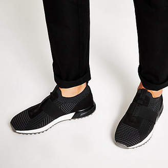 River Island Black textured knit runner trainers