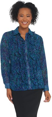Joan Rivers Classics Collection Joan Rivers Long Sleeve Paisley Print Blouse with Ruffles