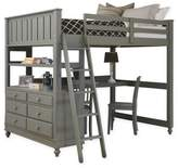 Hillsdale Kids and Teen Lake House Twin Loft Bed with Desk in Stone