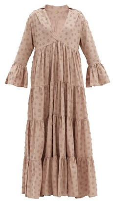 Dodo Bar Or Enid Tiered Floral-applique Cotton Maxi Dress - Light Brown