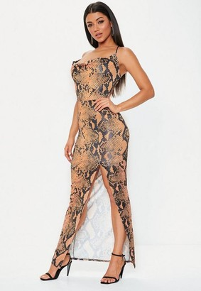 Missguided Peach Snake Print Strappy Cowl Bodycon Maxi Dress