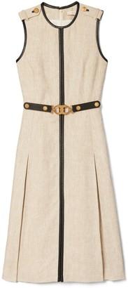 Tory Burch Leather-Trimmed Linen Dress
