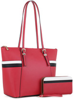 Mkf Collection By Mia K. MKF Collection by Mia K. Women's Coin Purses - Red Stripe Lyue Tote & Wallet