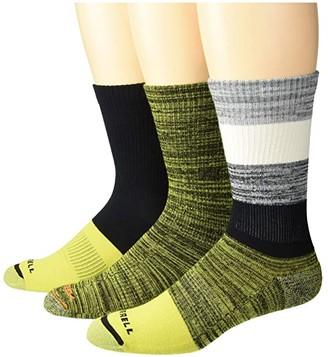 Merrell Cushioned Hiker Crew Socks 3-Pair (Dark Brown/Dark Grey/Light Grey/Olive Green) Crew Cut Socks Shoes