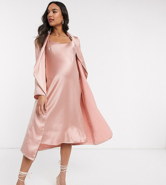 Queen Bee Maternity Baby Shower ruched cami midi dress and drape jacket set in pink
