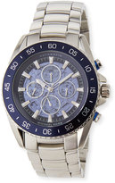 MICHAEL Michael Kors Jetmaster Automatic Skeleton Chronograph Watch, Silver/Blue