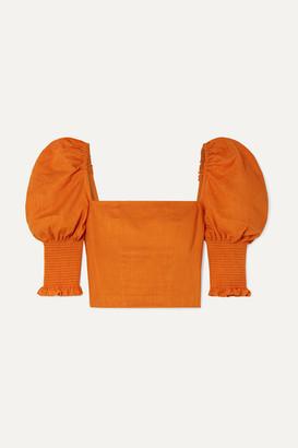 Nicholas Cropped Smocked Gauze Top - Orange