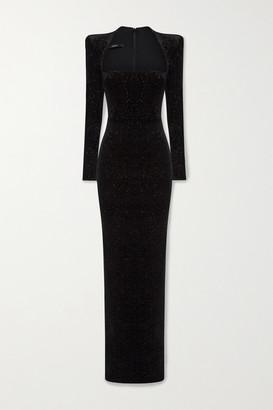 Alex Perry Houston Glittered Velvet Gown - Black