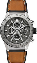 Tag Heuer CAR208Z.FT6046 Carrera titanium and leather chronograph watch