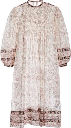 Etoile Isabel Marant Vanille Pintucked Floral Cotton Midi Dress