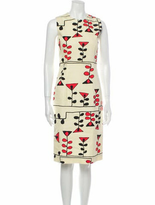 Marni Printed Knee-Length Dress Yellow