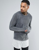 Asos Cropped Textured Jumper With Extra Long Sleeves In Acid Wash