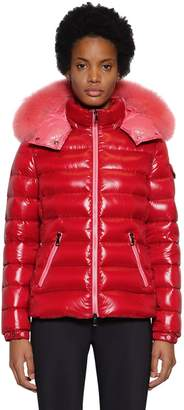 Moncler BADY NYLON LAQUE DOWN JACKET W/ FUR