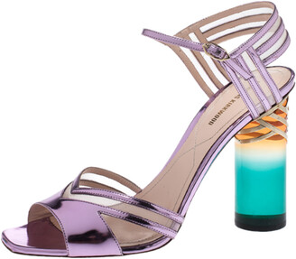 Nicholas Kirkwood Metallic Purple Leather And Mesh Lucite Heel Ankle Strap Sandals Size 40