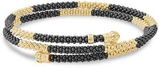 Lagos Gold & Black Caviar Collection 18K Gold & Ceramic Coil Bracelet