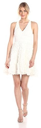 Aidan Mattox Aidan Women's Chiffon Halter Cocktail Dress with Rosette Skirt