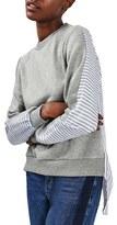 Topshop Women's Heathered & Stripe Hybrid Sweatshirt