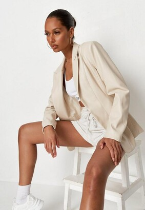 Missguided Ivory Co Ord Faux Leather Fitted Blazer
