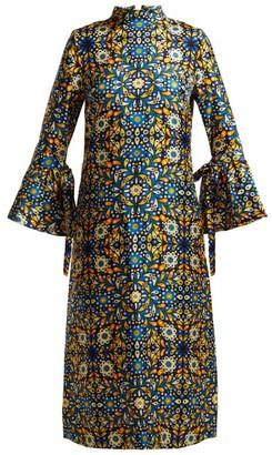 La DoubleJ Happy Wrist Lungo Confetti Blu-print Silk Dress - Blue Print