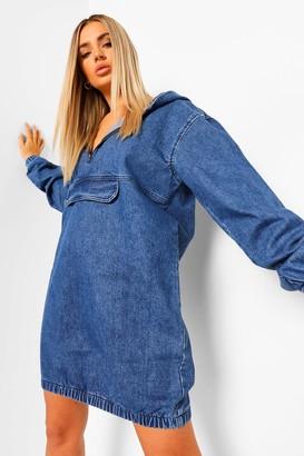 boohoo Hooded Denim Front Pocket Dress