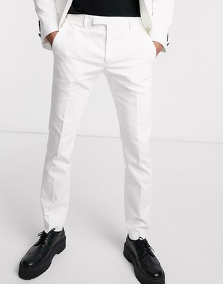 Twisted Tailor super skinny wedding suit trousers in white