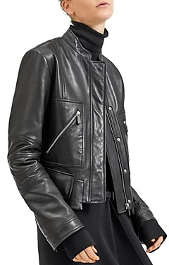 Barbara Bui Cropped Moto-Style Leather Jacket