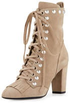 Giuseppe Zanotti Studded Suede Kiltie Lace-Up Boot, Tan