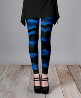 Lily Blue & Black Wavy Stripe Slim-Fit Pants - Plus Too