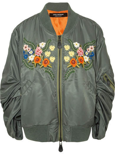f0b26c74f Oversized Embroidered Satin Bomber Jacket - Gray green