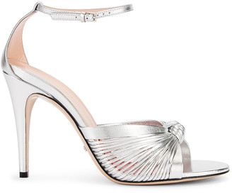 Gucci Crawford Metallic Ankle Strap Sandals in Silver | FWRD