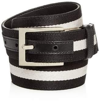 Bally Men's Striped Canvas & Leather Reversible Belt