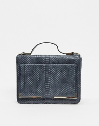 French Connection satchel bag in dark grey snake