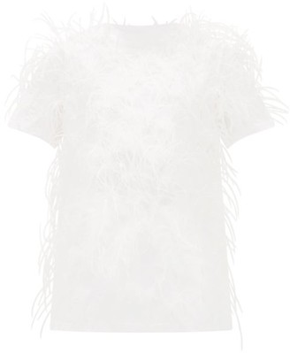 Valentino Feather-embellished Cotton T-shirt - Womens - White