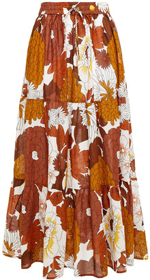 Dodo Bar Or Tiered Floral-print Cotton Maxi Skirt