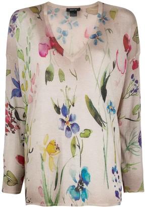 Avant Toi Floral Watercolour Print Jumper