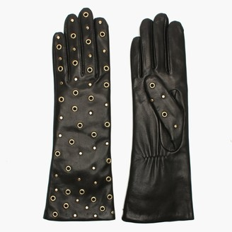 Agnelle Arzu Studded Black Leather Long Gloves