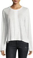 Frame Paneled Linen Long-Sleeve Tee, Blanc