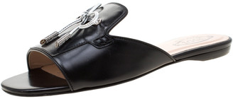 Tod's Limited Edition Black Leather Crystal Embellished Bow Peep Toe Flat Slides Size 36.5