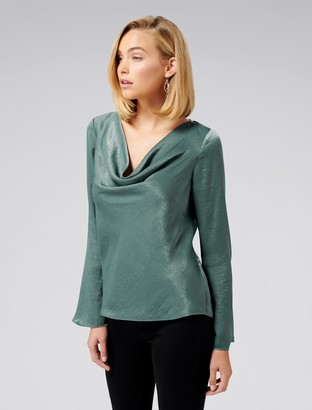 Forever New Scarlet Satin Flare Sleeve Cowl Neck Top - Evergreen - 4