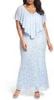 Marina Plus Size Women's Chiffon Capelet Sequin Lace Gown