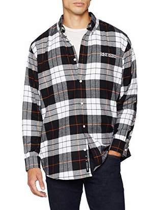 Cheap Monday Men's Clean Conduct Shirt Echologo em Casual White Tartan Check, Medium (Size: M)