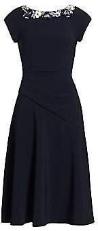 Theia Women's Crepe Boatneck A-Line Dress