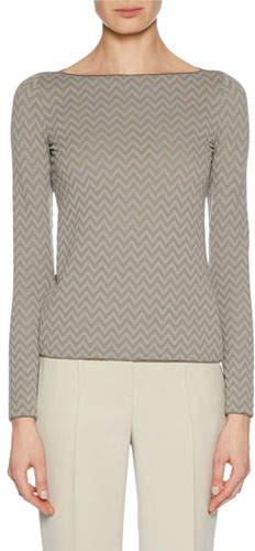 Giorgio Armani Boat-Neck Long-Sleeve Herringbone Jacquard Knit Top